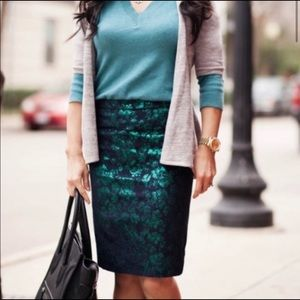 J.CREW Pencil Skirt Floral w/ Metallic brocade